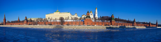 Panorama of Moscow Kremlin in winter stock photo