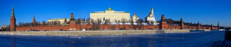Panorama of Moscow Kremlin in winter Stock Photography