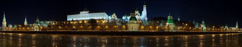 Panorama of Moscow Kremlin in winter night royalty free stock photography