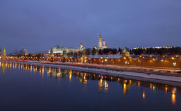 Panorama of the Moscow Kremlin in the winter night Stock Photography