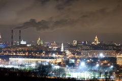 Panorama of Moscow in the night Stock Photo