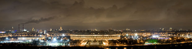 Panorama of Moscow in night Royalty Free Stock Photography