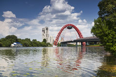 Panorama of Moscow with the red bridge through Moscow-river Royalty Free Stock Images