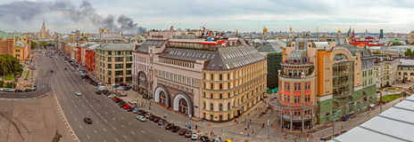 Panorama of Moscow from the roof of the building Royalty Free Stock Image
