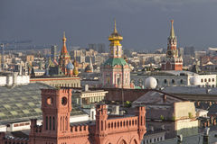 Panorama of Moscow roofs at sunset Royalty Free Stock Images