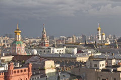 Panorama of Moscow roofs at sunset Stock Photography