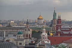 Panorama of Moscow roofs at sunset Royalty Free Stock Photos