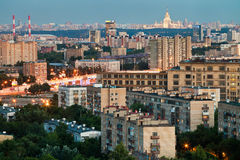 Panorama of Moscow in summer twilight Royalty Free Stock Photography