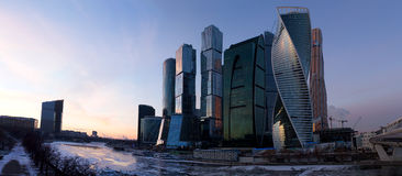 Panorama of Moscow at sunset. Winter. Moscow. Russia. Panorama made from multiple photos. Stock Photo