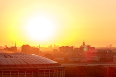 Panorama of Moscow from Vorobyovy Gory at sunrise Royalty Free Stock Photos