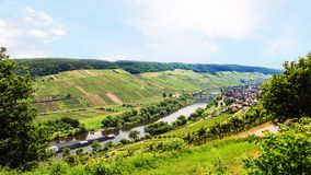 Panorama of Mosel river in Cochem - Zell region Royalty Free Stock Images
