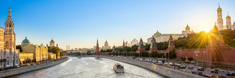 Panorama of the Moskva river with the Kremlin`s towers at sunset, Moscow Russia. Panorama of the Moskva river with the Kremlin`s towers at sunset, Moscow, Russia royalty free stock image