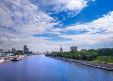 Panorama of the Moskva river in Russia.  Stock Photography