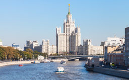 Panorama of Moskva River and tower in Moscow Royalty Free Stock Photos