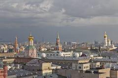 Panorama Moskwa dachy przy zmierzchem obraz royalty free