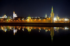 Panorama Moskwa Kremlin w nocy Obraz Royalty Free