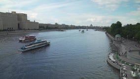 Panorama Moskwa rzeka w Gorky parka terenu zapasu materiału filmowego wideo zdjęcie wideo