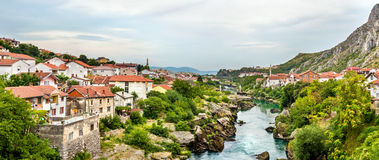Panorama of Mostar old town Stock Images