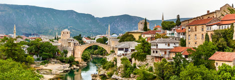 Panorama of Mostar old town Stock Image