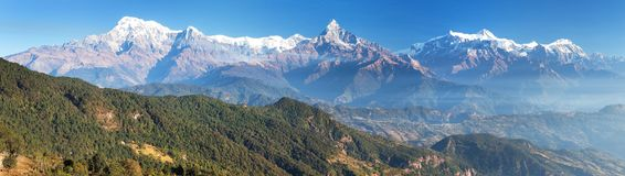 Panorama of mount Annapurna range, Nepal Himalayas royalty free stock photography