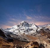 Panorama of mount Annapurna South in Nepal Himalayas stock photography