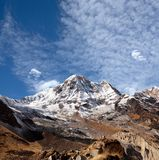 Panorama of mount Annapurna South in Nepal Himalayas royalty free stock photo