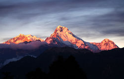 Panorama of mount Annapurna South, Nepal royalty free stock images
