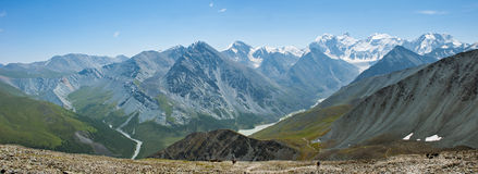 Panorama of Mount Belukha, Yarlu Valley and Lake Akkem Stock Photos