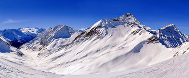 Panorama with Mount Berrio Blanc, Mount Favre and Val d'Orgeres Stock Image