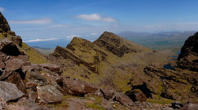 Panorama of mount brandon. Hiking up mount brandon in kerry ireland Royalty Free Stock Image