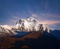 Panorama of mount Dhaulagiri, Nepal Himalayas stock photo