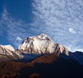 Panorama of mount Dhaulagiri - view from Poon Hill on Annapurna. Circuit Trek in the Nepal Himalaya. Dhaulagiri I is the seventh highest mountain in the world stock photo