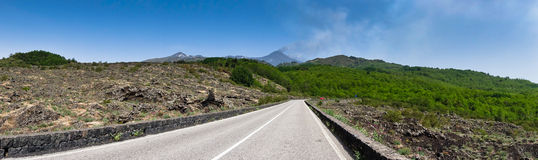 Panorama of mount Etna national park in Sicily Royalty Free Stock Image