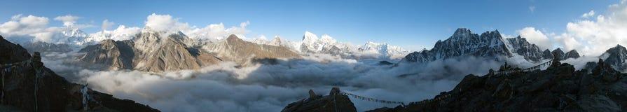 Panorama of Mount Everest, Lhotse, Makalu and Cho Oyu Royalty Free Stock Photos
