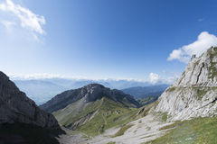 Panorama from Mount Pilatus, Switzerland stock photography