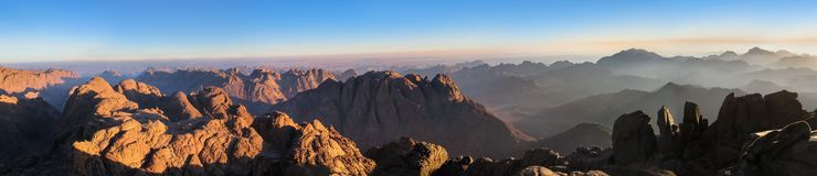 Panorama of Mount Sinai. In Sinai Peninsula of Egypt. Dawn of the holy summit of Mount Sinai, Aka Jebel Musa, know also as Mount of Ten Commandments or Mount of stock images