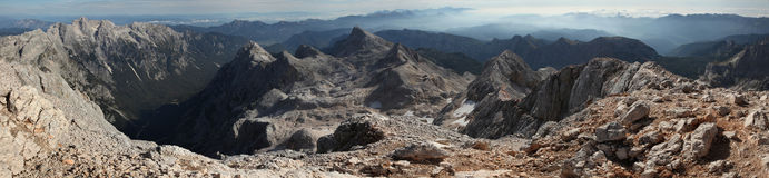 Panorama from Mount Triglav in the Julian Alps, Slovenia. Stock Image