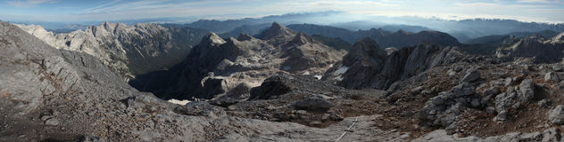 Panorama from Mount Triglav in the Julian Alps, Slovenia. Royalty Free Stock Photography