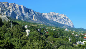 Panorama of the mountain Ai-Petri and town Simeiz Stock Photo