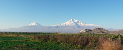 Panorama on mountain Ararat. Panorama photo on mountain Ararat from Armenia. All mountain, clear day, fields, vineyards Stock Photography