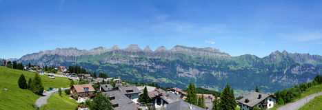 Panorama of the mountain chain Churfirsten Stock Photography