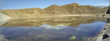 Panorama Mountain clear water reflection. Panorama Mountain reflation on lake on sunny morning Stock Photos