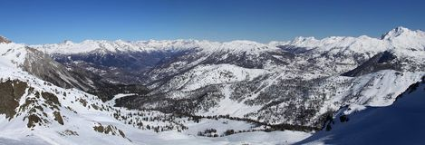 Panorama of mountain dale in Italy (Alps) Royalty Free Stock Image