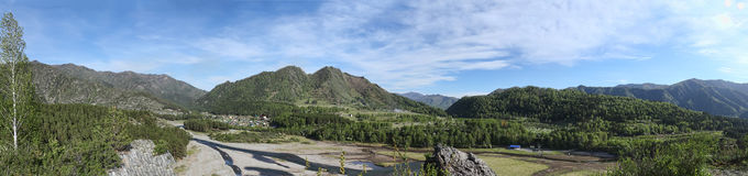 Panorama of a mountain on a dried lake Royalty Free Stock Photo