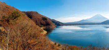 Panorama of Mountain Fuji fujisan with Motosu lake Royalty Free Stock Photography
