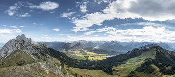 Panorama from mountain hahnenkamm Royalty Free Stock Photography