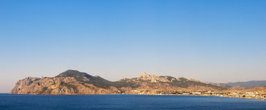 Panorama of mountain Kara-Dag. Koktebel resort. Royalty Free Stock Images