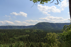 Panorama with mountain Kleiner Winterberg and forest seen from Kuhstall in Saxon Switzerland Stock Photo
