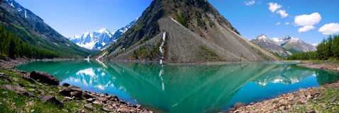 Panorama mountain lake. In background with high mountain Stock Photos