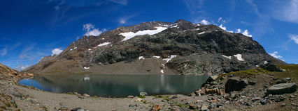 Panorama Mountain Lake. High Mountain lake with reflection on a sunny day Stock Photos